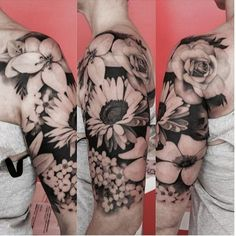 black and grey floral tattoo sleeve on We Heart It.