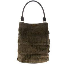 f694964701 Burberry Women s Bucket Bag in Tiered Fringing Dark Green... https