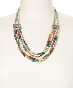 This Yellow & Green Tribal Bead Necklace by Christian Livingston is perfect! #zulilyfinds