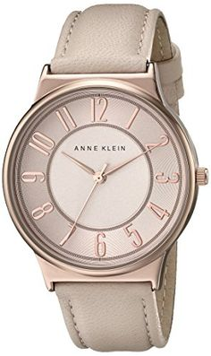 Anne Klein Women's AK/1928RGLP Easy To Read Dial Blush Pink Leather Strap Watch | shopswell