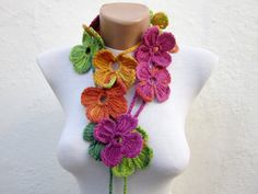 Handmade crochet Lariat Scarf green orange pink blue by scarfnurlu