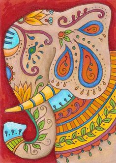 Fabulous art by Holly DeFount! ACEO Original Art Ganesha by RavenandRoseArts on… Elephant Pattern, Elephant Love, Elephant Art, Zentangle, Indian Paintings, Abstract Paintings, Art Paintings, Madhubani Painting, Hindu Art