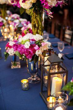 navy and fuchsia wedding centerpiece / http://www.deerpearlflowers.com/fuchsia-hot-pink-wedding-color-ideas/