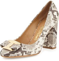 37c87ffc13107 Salvatore Ferragamo Ninna Python-Embossed Bow Pump, Roccia Bow Shoes, Cute  Shoes,