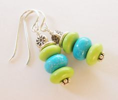 BLUE and LIME Turquoise and Hill Tribe Silver by MagnoliaStudio, $26.00