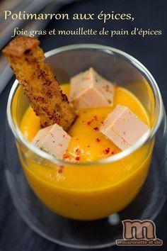 Potimarron aux épices, foie gras et mouillette de pain d'épices - Macaronette et cie