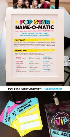 Pop Star Party Band Name Activity - Free Printable