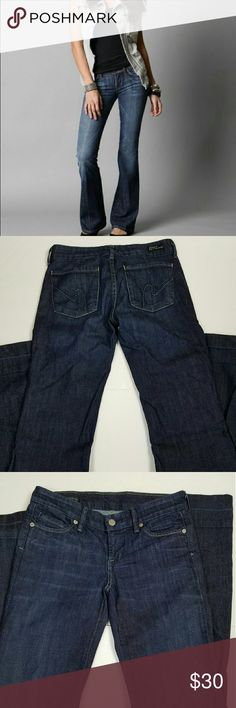 Wide Leg Jeans Nice full leg jeans in a dark wash. Low waist. Stretch. Very flattering fit. Waist - 14 inches, Inseam - 33.5 inches. 98% Cotton, 2% Elastane. Perfect condition. Citizens of Humanity Jeans Flare & Wide Leg