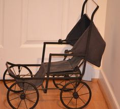 Old Doll Carriage Buggy Pram Metal Folding Unique from oldeclectics on Ruby Lane