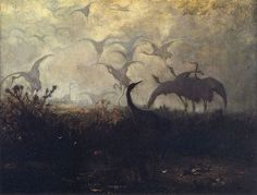 Cranes Take Off by Jozef Chelmonski, 1870