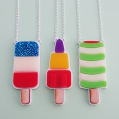 These retro ice lolly necklaces will put you in a summery mood all year round! Bright, iconic laser cut shapes on a white background and silver plated chain. Which one did you get from the ice cream van? Please state which necklace you would like at c. Cute Jewelry, Bridal Jewelry, Jewelry Gifts, Jewelry Necklaces, Cake Accessories, Ice Cream Van, Laser Cut Jewelry, Fairy Cakes, Gift Cake