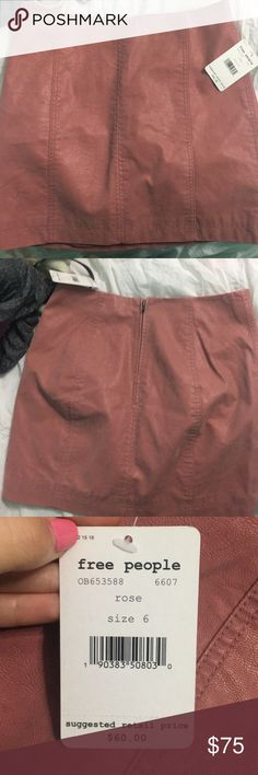 Free People Pink Skirt Suede material; Never worn; Still with tag; Not in most stores anymore Free People Skirts Mini