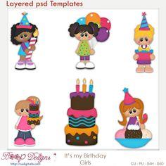 It's My Birthday Girls Layered Element Templates , cudigitals.com, cu, commercial, scrap, scrapbook, digital, graphics,