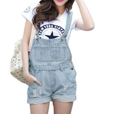 This fashion women #denimrompers is a good choice for the season.  Classic bib design to front. Front, side and back pockets detailing, stylish and fashionable. Come and never miss this wonderful romper!