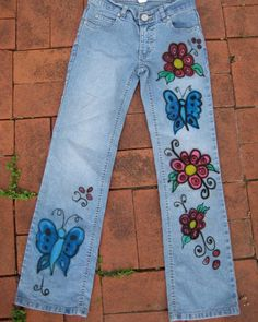 Hand Painted Denim Clothing | Hand Painted Custom BUTTERFLY jeans for Women & Girls . / You supply ...