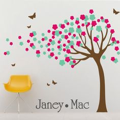 Girls Blowing Flower Tree Wall Decal with Butterflies - Vinyl Wall Art Sticker - Nursery Children's Girl Bedroom - CT111 - G. $85.00, via Etsy.