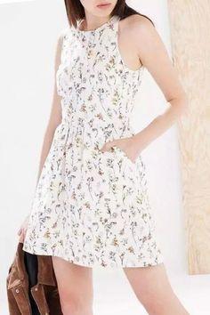 Floral Print Sleeveless Fleated Nice Dress