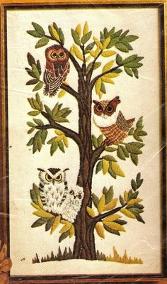"Vintage Erica Wilson ""Owls in a Tree"" Sealed Crewel Embroidery Kit #ColumbiaMinerva"