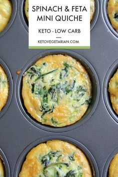 A keto spinach feta mini quiche that is baked in a muffin tin. These low carb . - A keto spinach feta mini quiche that is baked in a muffin tin. These low carb crust-less quiches - Low Carb Vegetarian Recipes, Healthy Low Carb Recipes, Low Carb Dinner Recipes, Keto Recipes, Snack Recipes, Cooking Recipes, Free Recipes, Snacks, Spinach And Feta Muffins