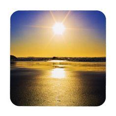 Star-shine Hard Plastic Coasters with cork back. #coasters #sunset #beach