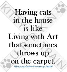 Having cats in the house is like living with art that sometimes throws up on the carpet.  Hahaha!