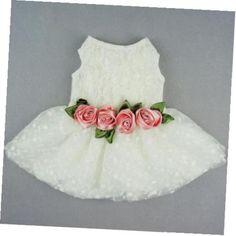 Vestido de Novia de Lujo Rose Encaje Ropa Mascota Perro weddding Formal Ropa, Medio