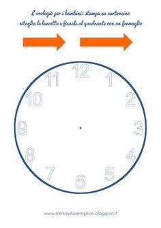 L'orologio da stampare per i bambini (pdf gratuito) Free printable clockface for kids