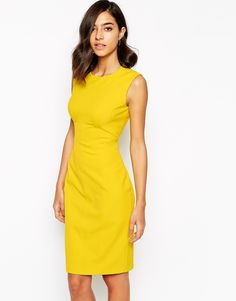 Bodycon dress by Karen Millen Woven fabric Structured seam detailing Zip back fastening Kick slit Close cut bodycon fit Dry clean Polyamide, Elastane Our model wears a UK 4 and is tall Casual Office Wear, Office Outfits, Karen Millen, Funky Outfits, Fashion Outfits, Yellow Outfits, Sexy Dresses, Summer Dresses, Mini Dresses