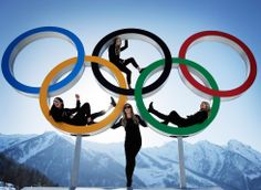 Shelly Gotlieb, Stefi Luxton, Christy Prior and Rebecca Torr of New Zealand team pose with the Olympic rings in Sochi (Russia).