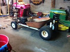 The beginnings of a lawn mower conversion rat rod go-cart