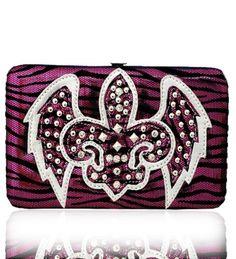Hot Pink Western Style Fleur de Lis with Wings Wallet - Handbags, Bling & More!