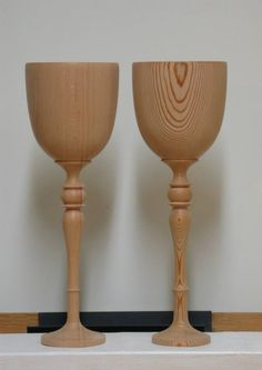 These goblets were custom made from old growth Douglas Fir that was once the bow sprit from BC's oldest Tall Ship, Maple Leaf.