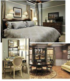 Room Inspiration via Television -The Good Wife Charcoal Bedroom, Dark Wood Bedroom, Master Bedroom Design, Home Bedroom, Bedrooms, Bedroom Decor, Wall Decor, Furniture Styles, Rooms Furniture