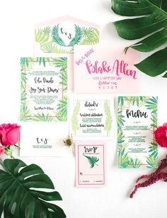 Tropical watermelon-inspired invite suite