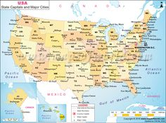 US map shows the 50 states boundary their capital cities along