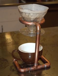 Here is a Steampunk coffee pour over stand.