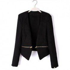 $14.19 Fashion V-Neck Waist Zip Long Sleeves Cotton Blend Jacket For Women