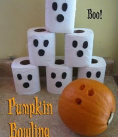"""pumpkin bowling - love this -- just like """"kitchen bowling"""" but for Halloween!"""
