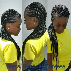 Twists and braids are one of the most loved, and used hairstyles today. Twists make it possible for you to extend your natural hair and attach almost anything you want – from high-quality commercia… Ghana Braids Hairstyles, Braided Bun Hairstyles, My Hairstyle, African Hairstyles, Girl Hairstyles, Layered Hairstyles, Braids For Black Hair, Black Girl Braids, Ghana Braids