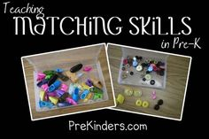 Ideas for hands-on matching skills. For storing the matching sets, I use clear video tape boxes. Each item in the boxes have a pair; in other words, there are no more than two objects that exactly match.