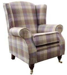 Show more information on Arnold Wool Tweed Wing Chair Fireside High Back Armchair Hunting Tower Grape Check Fabric High Back Armchair, High Back Chairs, Chair Upholstery, Fabric Sofa, Wingback Chairs, Armchairs, Tweed Fabric, Wing Chairs, Leather Fabric