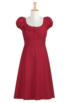 Rosette trim dress ~ great site for buying dresses!  Love this concept!! You choose from the different styles, lengths, colors, etc and they will make the dress for you!! That's great when most dresses nowadays are above the knee and imodest if you bend over to pick something up!!