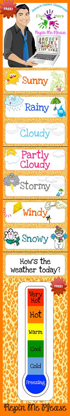 FREEBIE weather bulletin board printable.  Animal print themed!  I like the thermometer...maybe use a sticker each day of the month
