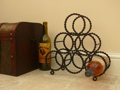 Reclaimed bicycle chain wine rack.