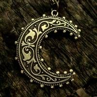 Brass Crescent Moon Necklace $17.00