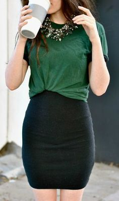 Forest Green Tee + Black Skirt + Statement Necklace