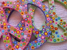 Hand Painted Wooden Polka Dotted Peace Sign by bubblesandcompany, $24.00