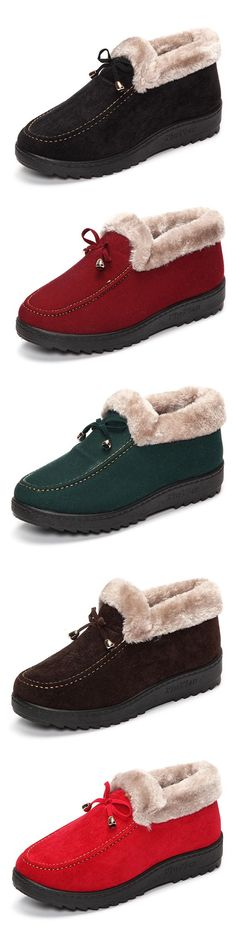 6c8fdadfe36b Casual Suede Fur Lining Flat Slip On Warm Ankle Boots is hot-sale. Come to  NewChic to buy womens boots online.