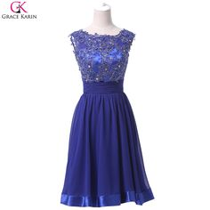 >> Click to Buy << Grace Karin Short Evening Dress With Open Back Chiffon Elegant Formal Gowns Dinner Royal Blue Party Special Occasion Dresses #Affiliate