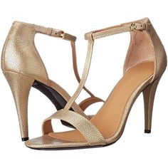 Calvin Klein Nasi (Dark Gold Metal Stingray) High Heels ($66) ❤ liked on Polyvore featuring shoes, sandals, gold, ankle strap shoes, ankle wrap sandals, calvin klein shoes, ankle tie sandals and high heel ankle strap shoes